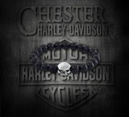 Harley-Davidson® Sterling Silver Willie G. Skull Bracelet with Onyx Gemstones, Silver Studio Co. Ltd. HDBR167