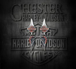 Harley-Davidson® Sterling Silver Wing Bar & Shield® Garnet CZ Gemstone Earrings, Silver Studio Co. Ltd. HDE029