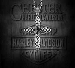 Harley-Davidson® Silver Plated Onyx Cross Pendant, Silver Studio Co. Ltd. HDP144