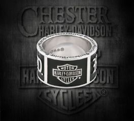 Harley-Davidson® Old English Script Bar & Shield® Band Sterling Silver Ring, MOD Jewelry Group Inc. HDR0482