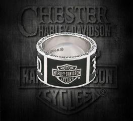 Old English Script Bar & Shield® Band Sterling Silver Ring