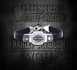 Harley-Davidson® Sterling Silver Classic Bar & Shield® Leather Bracelet, MOD Jewelry Group Inc. HDB0382