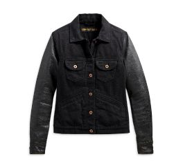 Harley-Davidson® Logo Leather Sleeve Denim Jacket 98411-20VW
