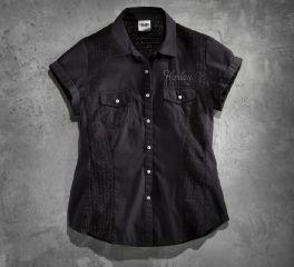 Harley-Davidson® Women's Lace Inset Woven Shirt 96021-14VW