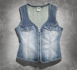 Harley-Davidson® Women's Wing Bling Denim Vest 99124-14VW