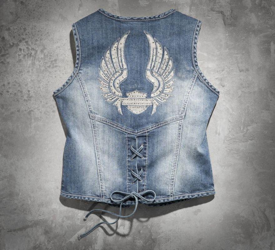 Harley Davidson 174 Women S Wing Bling Denim Vest 99124 14vw