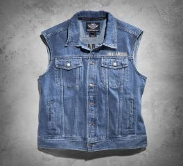 Men's Bar & Shield Logo Denim Vest