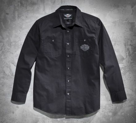 Harley-Davidson® Men's Tonal Flames Long-Sleeve Shirt 99072-12VM
