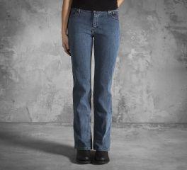 Women's Mid-Rise Medium Indigo Bootcut Jeans