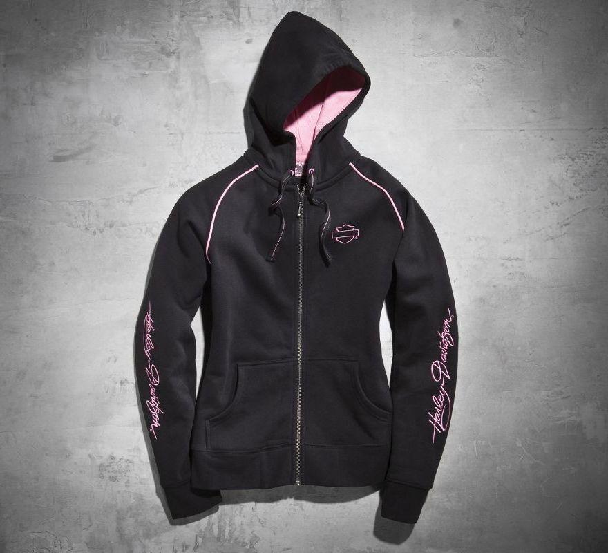 Harley Davidson Womens Pink Label Activewear Hoodie Black 99171