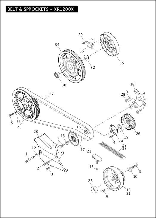 BELT & SPROCKETS - XR1200X 2012 Sportster Models Parts Catalog