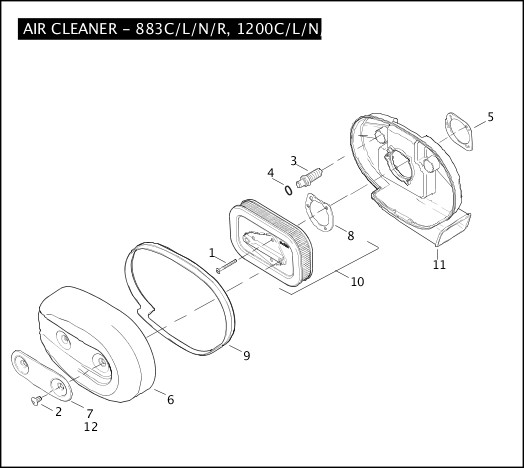 AIR CLEANER - 883C/L/N/R, 1200C/L/N/X 2010 Sportster Models Parts Catalog