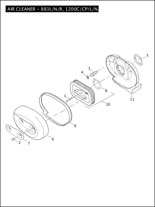 AIR CLEANER - 883L/N/R, 1200C/CP/L/N/X|2011 Sportster Models Parts Catalog