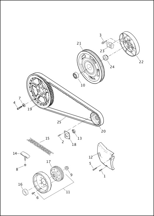 BELT & SPROCKETS - 883L/N/R, 1200C/CA/CB/CP/V/X|2013 Sportster Models Parts Catalog