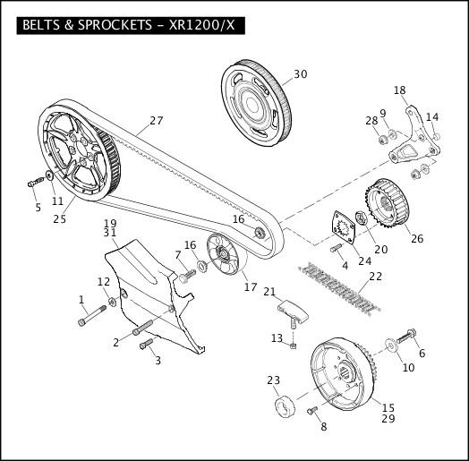 BELTS & SPROCKETS - XR1200/X|2010 Sportster Models Parts Catalog
