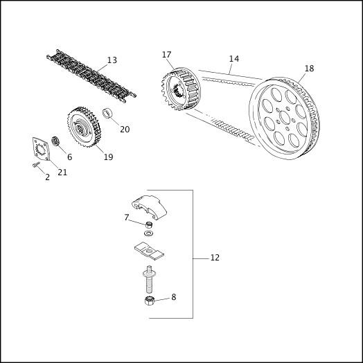 BELTS, CHAINS & SPROCKETS|1991-1992 XLH Models Parts Catalog