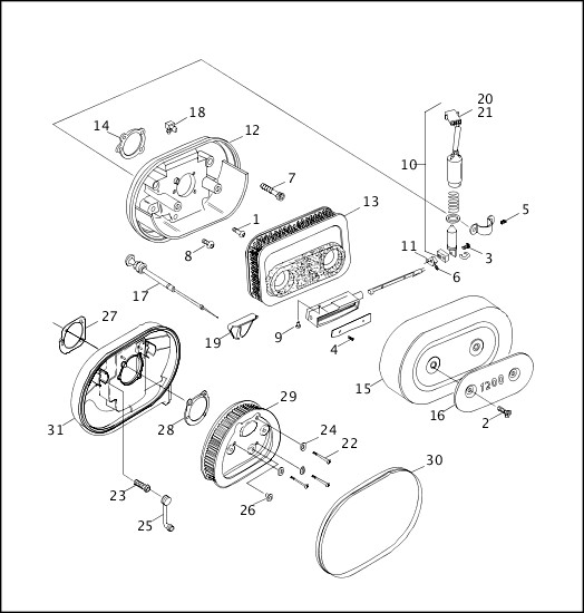 AIR CLEANER & ENRICHENER|1998 XLH Models Parts Catalog