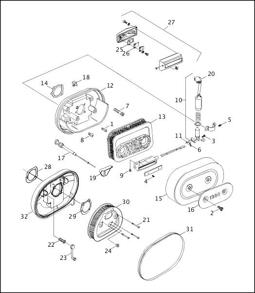 AIR CLEANER & ENRICHENER|1995-1996 XLH Models Parts Catalog
