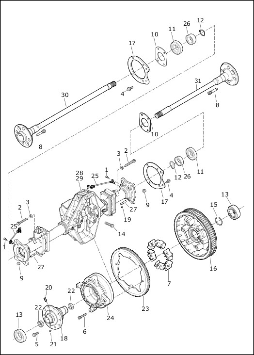 AXLE ASSEMBLY, REAR|2019 Trike Models Parts Catalog