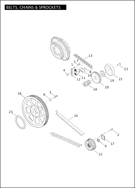 BELTS, CHAINS AND SPROCKETS|2004 Softail Models Parts Catalog