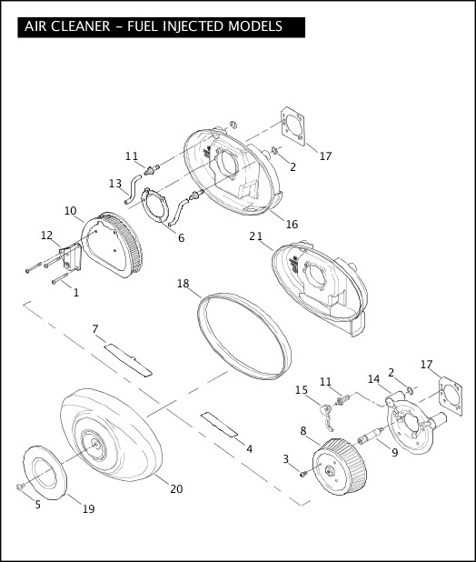 AIR CLEANER - FUEL INJECTED MODELS|2005 Softail Models Parts Catalog