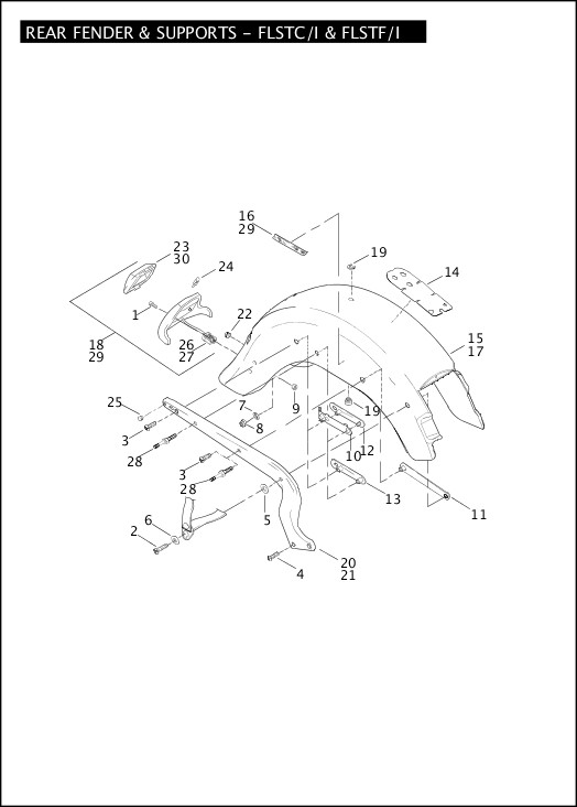 2004 Softail Models Parts Catalog REAR FENDER & SUPPORTS - FLSTC/I &  FLSTF/I Chester Harley-Davidson®Chester Harley-Davidson