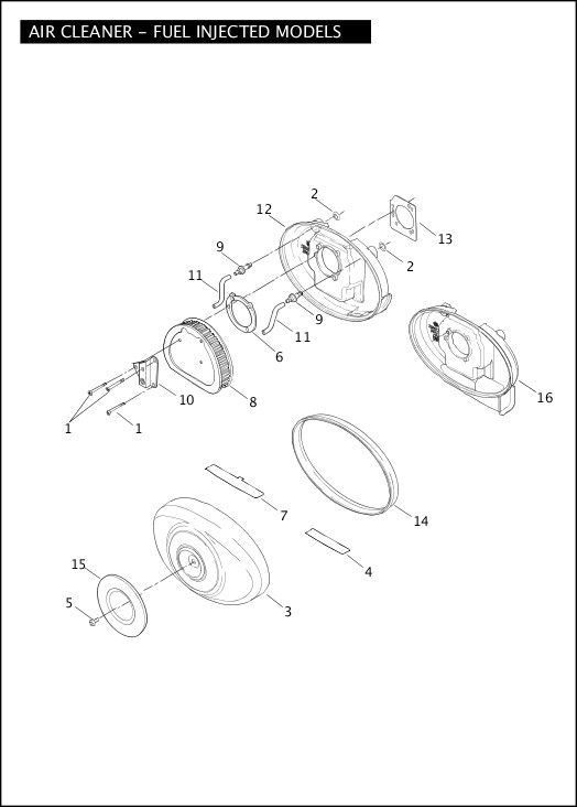 AIR CLEANER - FUEL INJECTED MODELS|2004 Softail Models Parts Catalog
