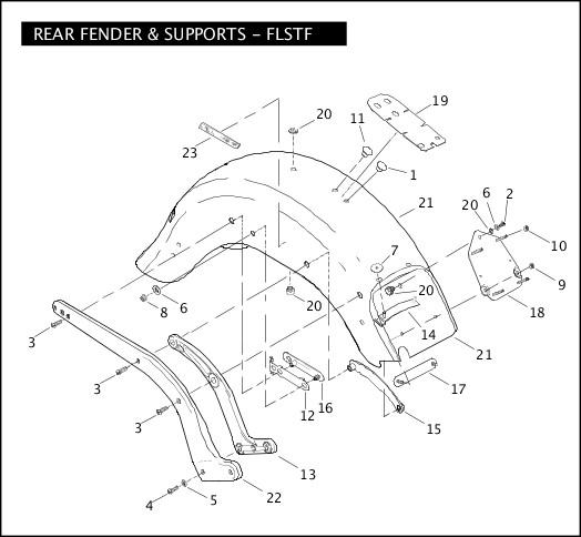 2008 Softail Models Parts Catalog REAR FENDER & SUPPORTS - FLSTF Chester  Harley-Davidson®Chester Harley-Davidson