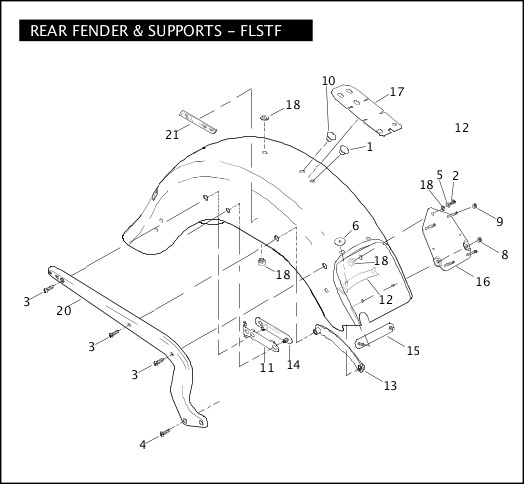 2007 Softail Models Parts Catalog REAR FENDER & SUPPORTS - FLSTF Chester  Harley-Davidson®Chester Harley-Davidson