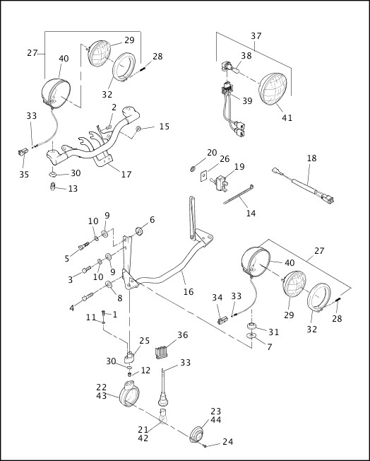 AUXILIARY/FOG LAMPS - FLSTC & FLSTS, FRONT TURN SIGNALS - FLSTC|1997 Softail Models Parts Catalog