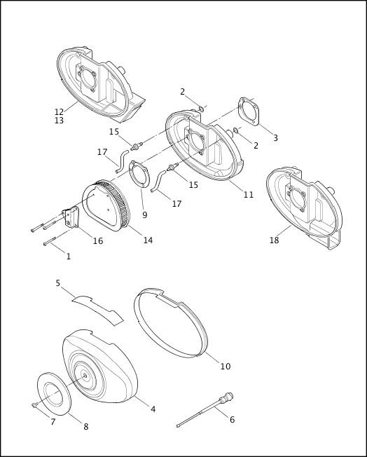 AIR CLEANER & ENRICHENER - CARBURETED MODELS|2001 FLT Models Parts Catalog
