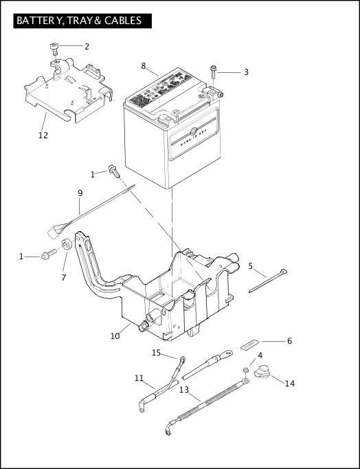 BATTERY, TRAY & CABLES|2008 Touring Models Parts Catalog