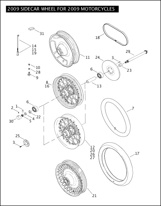 2009 SIDECAR WHEEL FOR 2009 MOTORCYCLES|2009 Touring Models Parts Catalog