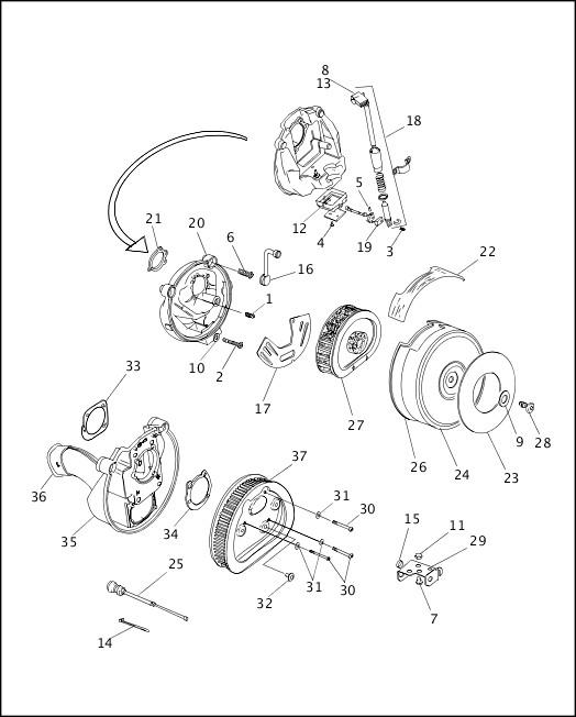 AIR CLEANER & ENRICHENER - CARBURETED 1997 FLT Models Parts Catalog