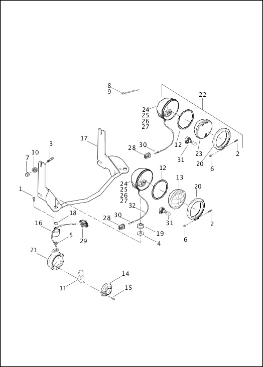 AUXILIARY/FOG LAMPS & TURN SIGNALS, FRONT - FLHR & FLHRC|2015 Touring Models Parts Catalog
