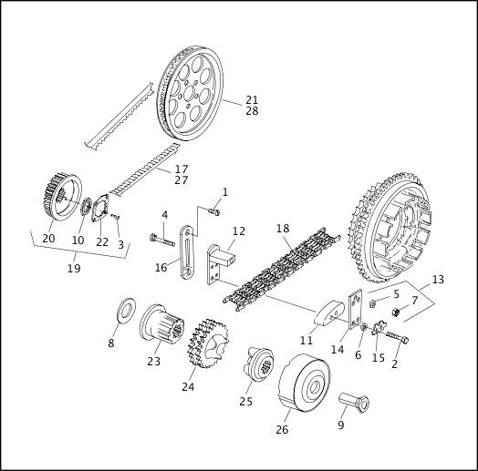BELTS, CHAINS & SPROCKETS (1 OF 2)|1993-1994 FLT Models Parts Catalog