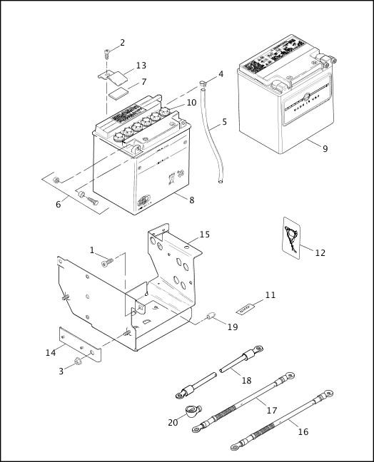 BATTERY, TRAY & CABLES|1998 FLT Models Parts Catalog