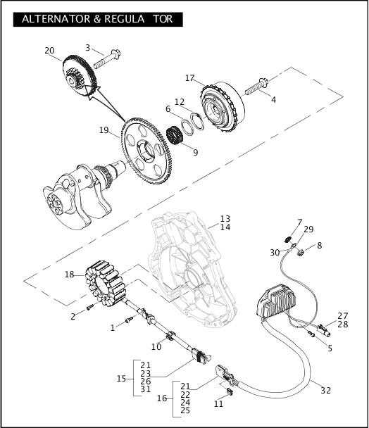 ALTERNATOR & REGULATOR|2004 VRSC Models Parts Catalog