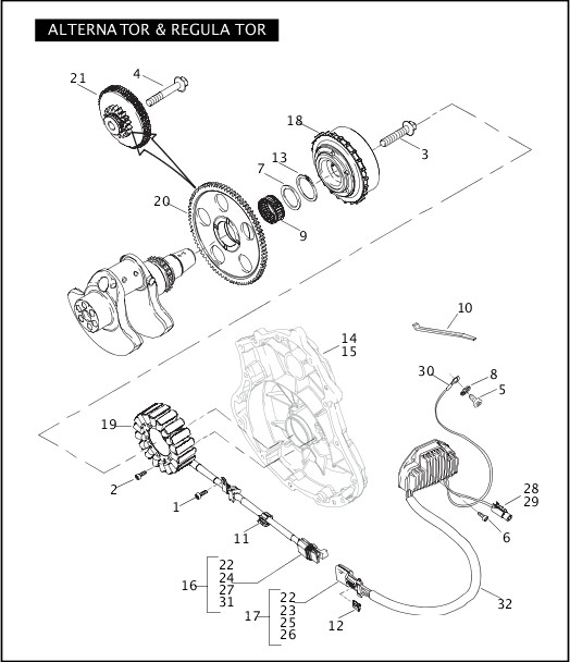 ALTERNATOR & REGULATOR|2005 VRSCSE Parts Catalog