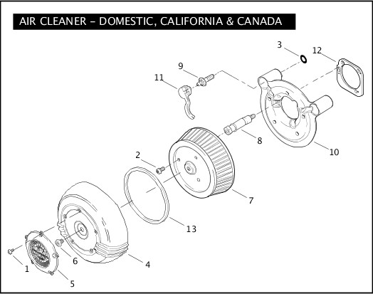 AIR CLEANER - DOMESTIC, CALIFORNIA, & CANADA|2007 FXSTSSE Parts Catalog