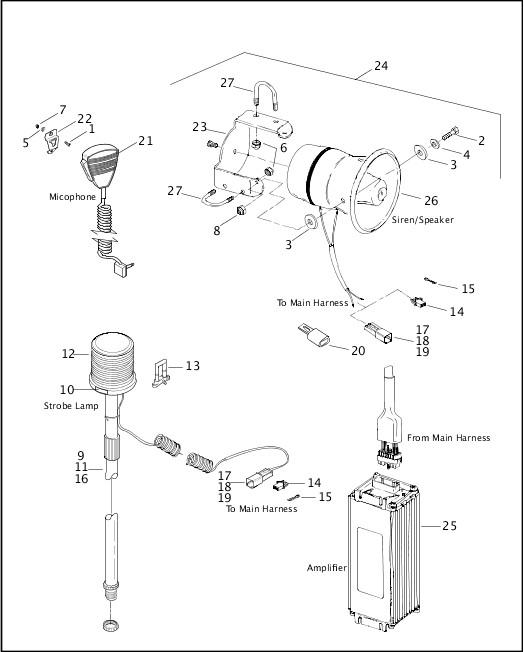 AMPLIFIER, SIREN & STROBE LAMP|2001 Dyna Police Model Parts Catalog