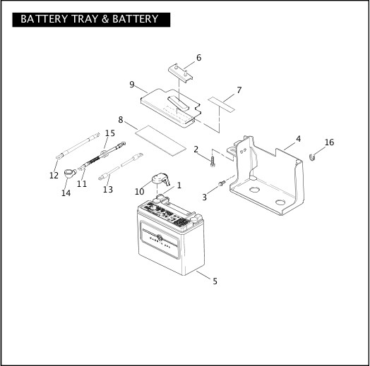 BATTERY TRAY & BATTERY|2004 Dyna Police Parts Catalog