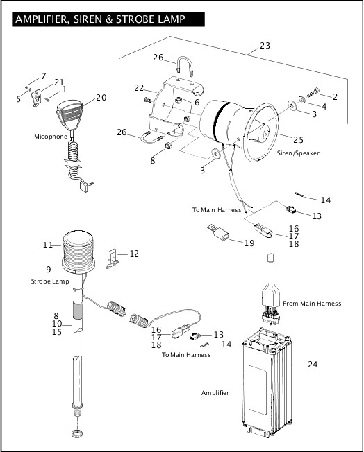 AMPLIFIER, SIREN & STROBE LAMP|2004 Dyna Police Parts Catalog