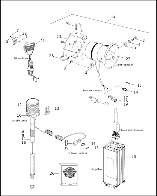AMPLIFIER, SIREN AND STROBE LAMP|2003 Dyna Police Parts Catalog