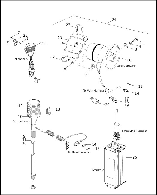 AMPLIFIER, SIREN & STROBE LAMP|2002 Dyna Police Parts Catalog