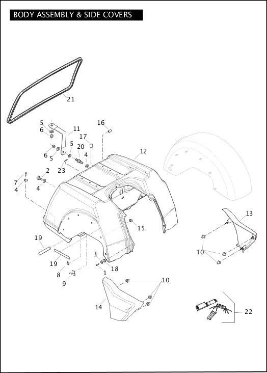 BODY ASSEMBLY & SIDE COVERS|2012 Trike Model Parts Catalog