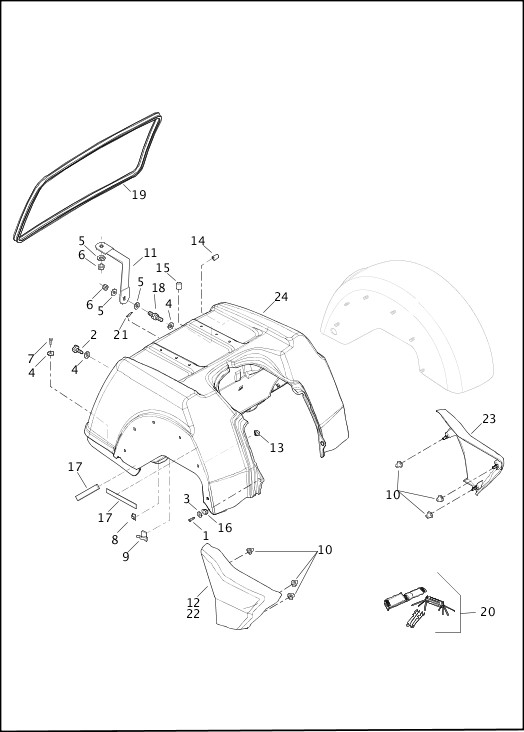 BODY ASSEMBLY & SIDE COVERS - FLHTCUTG 2015 Trike Model Parts Catalog