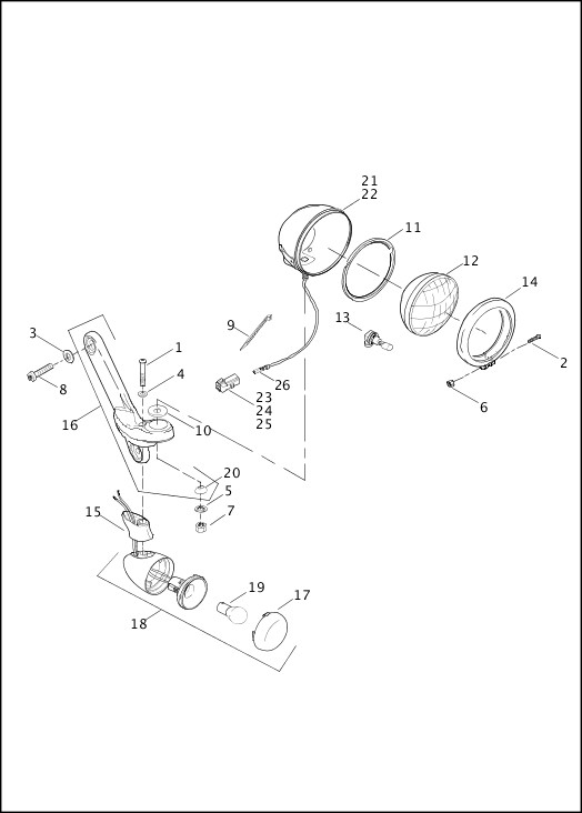 AUXILIARY/FOG LAMPS & TURN SIGNALS, FRONT|2013 Trike Model Parts Catalog