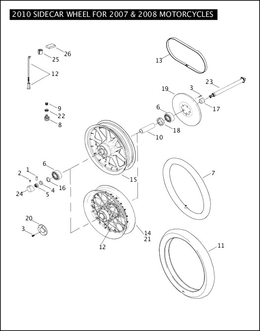 2010 SIDECAR WHEEL FOR 2007 & 2008 MOTORCYCLES 2010 Sidecar Models Parts Catalog