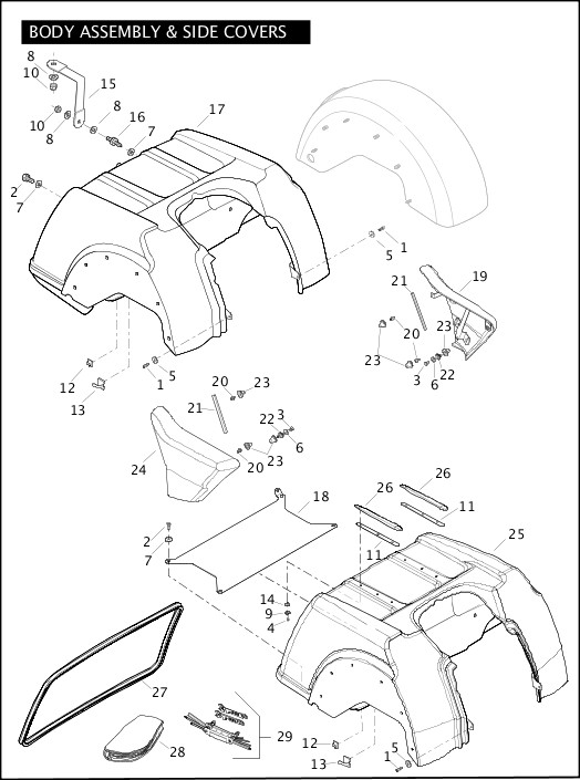 BODY ASSEMBLY & SIDE COVERS|2010 Trike Model Parts Catalog